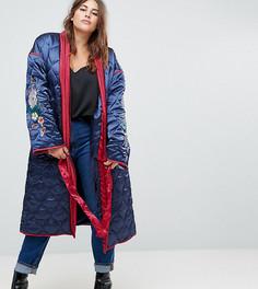Стеганая куртка с запахом и цветочной вышивкой Glamorous Curve Premium - Темно-синий