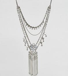 Ожерелье в несколько рядов со стразами Reclaimed Vintage - Серебряный