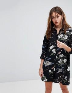 Платье-рубашка с длинными рукавами и цветочным принтом Glamorous - Черный