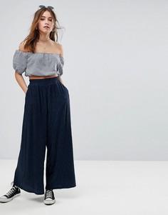 Широкие плиссированные брюки Glamorous - Темно-синий