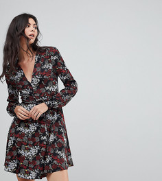 Платье с запахом и цветочной аппликацией Glamorous Tall - Черный