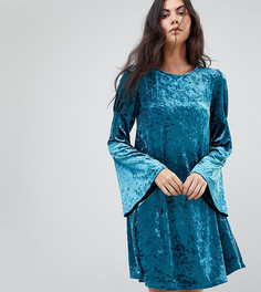 Свободное платье из мятого бархата с длинными рукавами Glamorous Tall - Синий