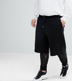 Оверсайз-шорты с кружевными меггинсами внутри ASOS PLUS - Черный