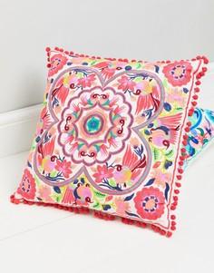 Квадратная подушка с вышивкой Bombay Duck Tulum - Мульти