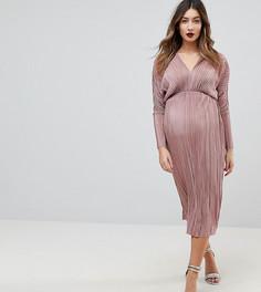 Плиссированное платье миди с рукавами летучая мышь ASOS MATERNITY - Розовый