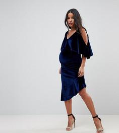 Бархатное облегающее платье миди с асимметричным подолом ASOS MATERNITY - Темно-синий