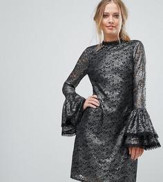 Свободное кружевное платье с эффектом металлик и расклешенными рукавами Little Mistress - Серебряный