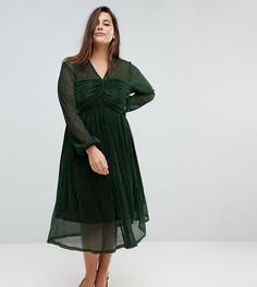 Платье миди с присборенным топом и блестящей отделкой Unique 21 Hero - Зеленый