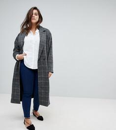 Удлиненное пальто в клетку Unique 21 Hero - Серый