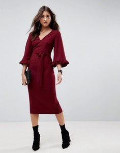 Платье-кимоно миди с рукавами-оборками ASOS - Красный