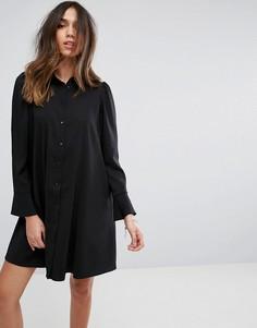 Платье-рубашка мини с длинными рукавами ASOS - Черный