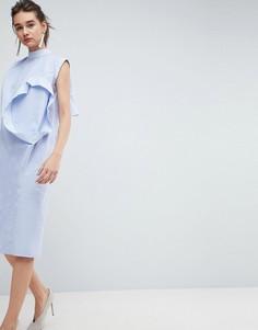 Платье с отделкой в виде нескольких рукавов ASOS WHITE - Синий