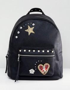 Рюкзак с нашивкой и отделкой ASOS - Черный