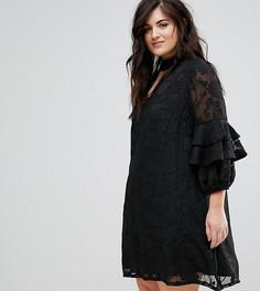 Платье А-силуэта с выжженным цветочным узором и оборками на рукавах Lovedrobe - Черный