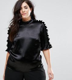 Облегающая блузка с оборками Lovedrobe - Черный