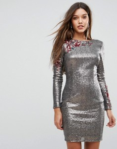 Облегающее платье с пайетками и цветочной аппликацией Little Mistress - Серебряный