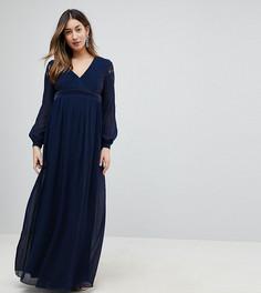 Платье макси с кружевными рукавами и глубоким вырезом Little Mistress Maternity - Темно-синий