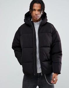 Черная дутая куртка с капюшоном ASOS - Черный