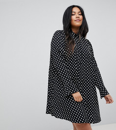 Платье-рубашка в горошек с длинными рукавами ASOS CURVE - Мульти