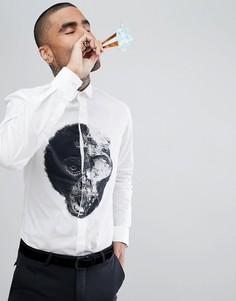 Облегающая рубашка с принтом Noose & Monkey - Белый