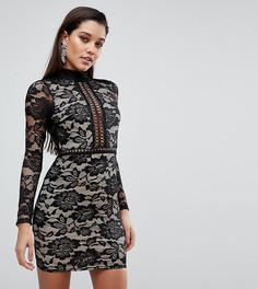 Кружевное платье мини с высоким воротом PrettyLittleThing - Черный