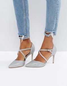 Туфли на каблуке с блестками и перекрестными ремешками New Look - Серебряный