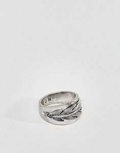Серебристое премиум-кольцо с пером Icon Brand - Серебряный
