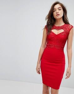 Кружевное облегающее платье миди Lipsy - Красный