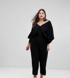 Комбинезон с рукавами-кимоно и широкими штанинами ASOS CURVE - Черный