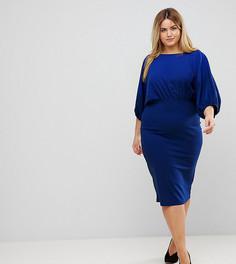 Платье-футляр миди с рукавами летучая мышь ASOS CURVE - Синий