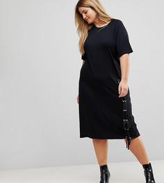 Платье-футболка миди со шнуровкой ASOS CURVE - Черный