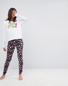 Пижама с лонгсливом и леггинсами ASOS Hot Stuff - Мульти