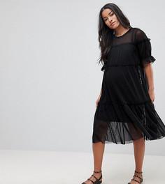 Свободное ярусное платье миди ASOS MATERNITY - Черный