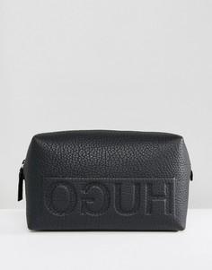 Черный кожаный несессер с логотипом HUGO Victorian - Черный