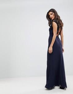 Платье макси с высоким воротом и кружевной вставкой на спине Elise Ryan - Темно-синий