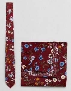 Галстук с цветочным принтом и платок паше бордовой расцветки ASOS - Красный