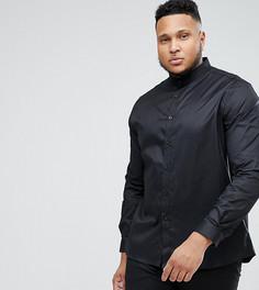 Облегающая рубашка с воротником с застежкой на пуговицах Heart & Dagger PLUS - Черный