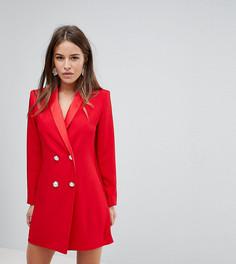 Платье-смокинг мини с пуговицами из искусственного жемчуга ASOS PETITE ULTIMATE - Красный