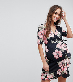Чайное платье с цветочным принтом, запахом и оборкой ASOS MATERNITY - Мульти