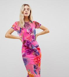 Сетчатое платье миди с принтом и оборкой ASOS PETITE - Мульти