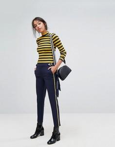 Суженные книзу брюки в стиле милитари с полосками по бокам Esprit - Синий