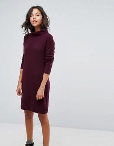 Вязаное платье миди с отворачивающимся воротником Esprit - Красный