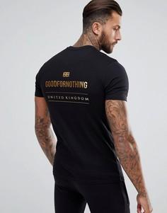 Черная обтягивающая футболка с золотистым логотипом на спине Good For Nothing - Черный
