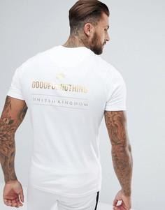 Белая обтягивающая футболка с золотистым логотипом на спине Good For Nothing - Белый