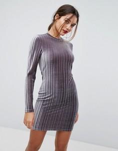 Бархатное платье мини со складками и высоким воротом Ivyrevel - Серый