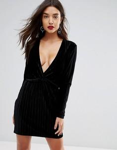 Бархатное платье мини со складками и глубоким V-образным вырезом Ivyrevel - Черный