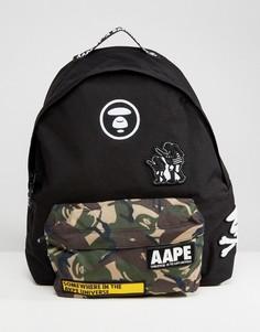 Черный рюкзак с камуфляжным принтом на кармане AAPE By A Bathing Ape - Черный