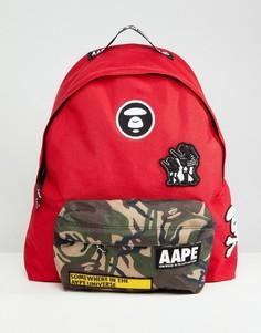 Красный рюкзак с камуфляжным карманом AAPE By A Bathing Ape - Красный