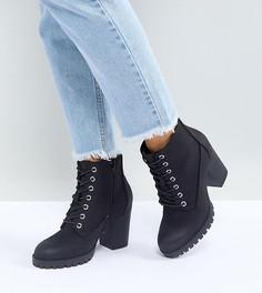 Полусапожки для широкой стопы на каблуке и рифленой подошве со шнуровкой New Look - Черный