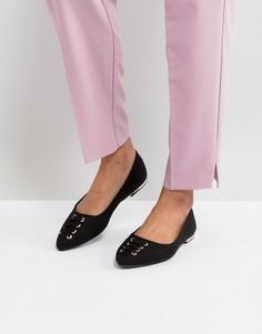 Туфли на плоской подошве со шнуровкой New Look - Черный